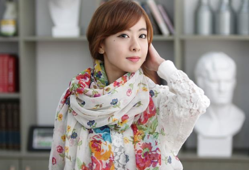 New Style 4 Colors voile various flowers Scarf C-0002