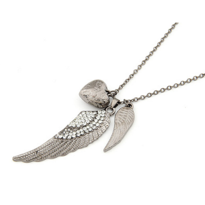 fashion gun black clear rhinestone double wing heart necklace N-2768