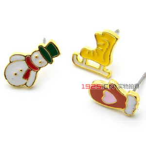 new coming roller skate glove snowman ear stud for Christmas day E-1571