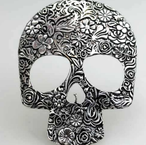 Vintage Style bronze/Silver Alloy Engraving Skull pendant Necklace N-2836