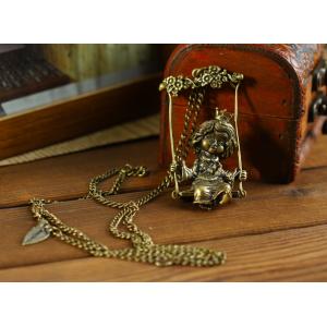 Vintage Styleplay on the swings Crown princess Pendant Necklace N-2849