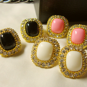 Wholesale 4 Pair 4 Colors Gold Plated rhinestone Gem Earring E-2080