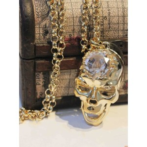 Zircon Noble Skull Skeleton Necklace N-2760