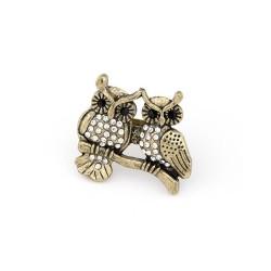 vintage style bronze alloy rhinestone owl ring R-0595