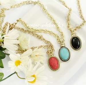 3colors fashion style opal gem pendant necklace N-1021
