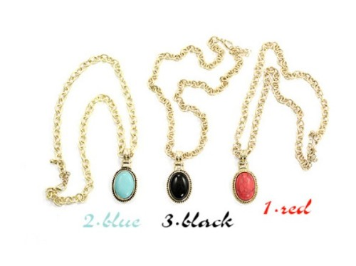 3colors fashion style opal gem pendant necklace N-1021