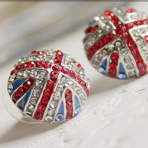 Fashion Colorful Glazed Rhinestone union flag ear stud E-0559