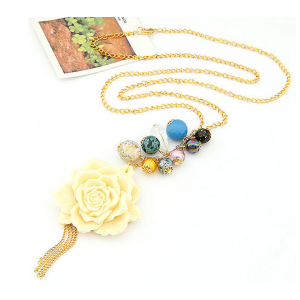 New Coming Colorful Beads Cream Resin Flower Edging Necklace N-0086