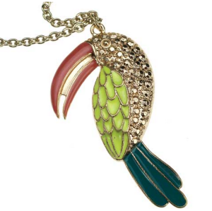 New Coming Gold Plated Colorful Glazed Rhinestone Eye parrot necklace N-3370