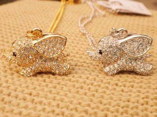 new coming gold plated lots rhinestone elephant necklace N-3360