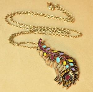 Vintage Style Colorful Rhinestone Glazed Feather Pendant Necklace  N-2811