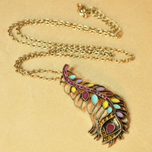 Vintage Style Colorful Rhinestone Glazed Feather Pendant Necklace  N-2811