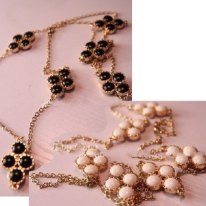 New Coming Gold Plated White&Black Optional Beads Flower Long Chain Necklace Free Shipping N-0096