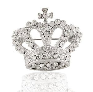Shinning Rhinestone Silver Plated Crown Brooch P-0024