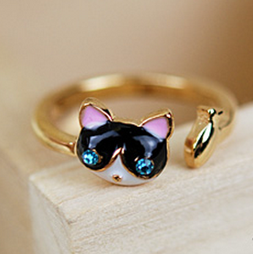 rose gold plated fish glazed rhinestone eye cat ring R-0223