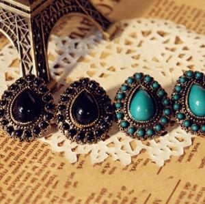 2 Pairs Wholesale Black&Blue Drop Ear Stud Earring E-0266