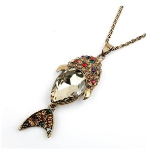 New Comming Colorful Rhinestone Crystal Fish Shape Pendant Necklace N-4025