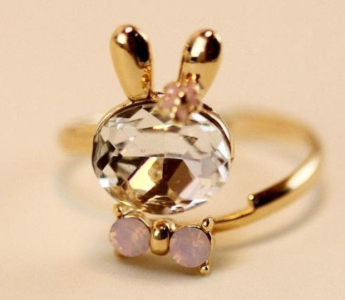 Fashion Crystal Bow Gold Plated Lovely Rabbit Shape Ring Free Shipping  R-0711