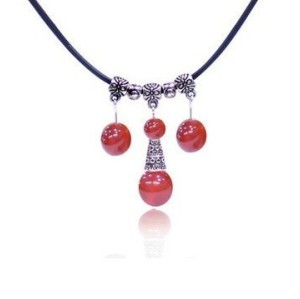Vintage Style Red Gem Ball Tassel Rope Chain Necklace Free Shipping N-2341