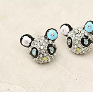 silver plated glazed rhinestone panda ear stud E-0657