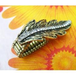 Retro Rhinestone Bronze Metal Leaf Shape Stretch Ring  R-0171
