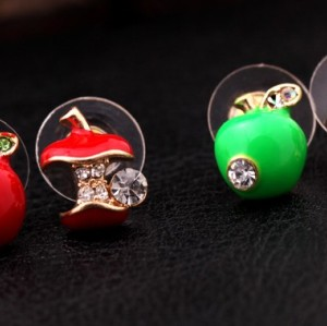 New Cute Rhinestone Red/Green Enamel Cartoon Apple Ear Stud Uneven Fruit Earrings  E-0507