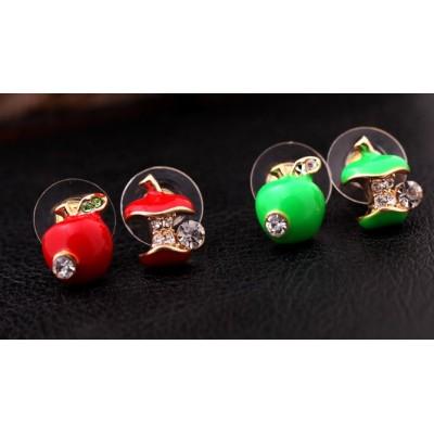 New Cute Rhinestone Red/Green Enamel Cartoon Apple Ear Stud Uneven Fruit Earrings  E-0507