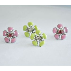Wholesale 2 Pairs Glazed Pink&Green Flower Ear Stud E-0516