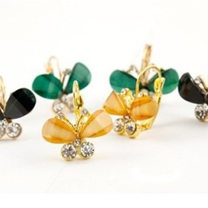 Fashion Crystal Rhinestone Gold Clip Butterfly Earrings E-1097