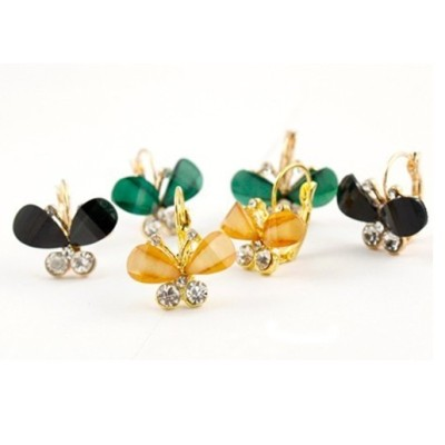 Fashion Crystal Rhinestone Gold Clip Butterfly Earrings E-1097