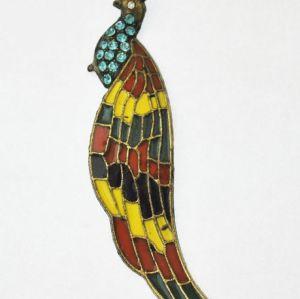 Colorful Glazed Green Rhinestone Bronze Peacock Pendant Necklace N-3276