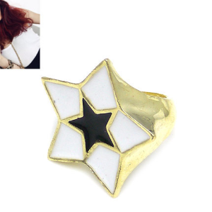 Gold Plated White/Black Glazed Solid Star Ring R-0575-WH