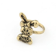 Vintage Style Bronze Cute Rabbit Ring Adjustable
