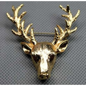 Gold Plated spotted deer head pin brooch P-0073