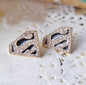 gold plated Black glazed rhinestone letter S solid geometry Earring E-2004