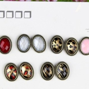 Wholesale 6 pairs 6 Style Vintage Style Ellipse Gem Earrings Ear Stud  E-0034,E-0036