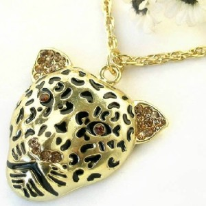 N-3262 Rhinestone Gold Plated Leopard Head Necklace Pendant