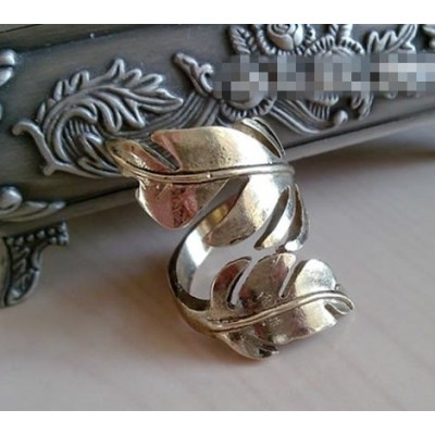 2Pcs 2Colors Vintage Style Metal Two Leaf Open Ring R-0176