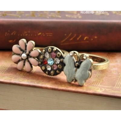 Vintage Style Glazed Rhinestone Cute Flower Butterfly ring S-0009-R