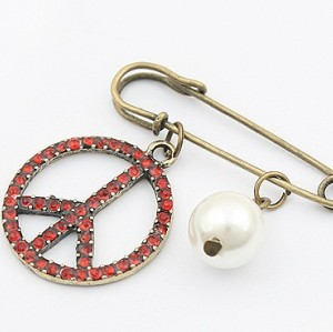 Retro New Red Rhinestone Peace Symbol Pearl Pin Brooch P-0028