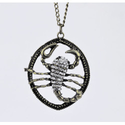 Vintage Style Clear Crystal Scorpion Necklace N-3336