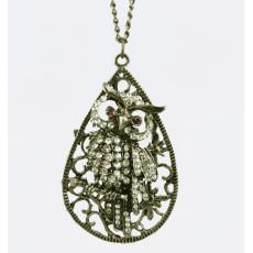 Retro Drip Crystal Branch Owl Necklace Pendant N-2527