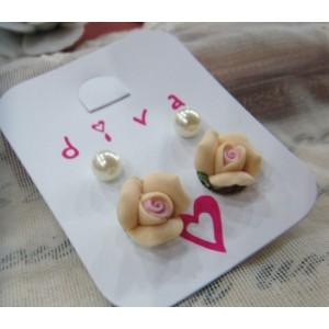 Set Cute Flower White Pearl Ear StudE-0501