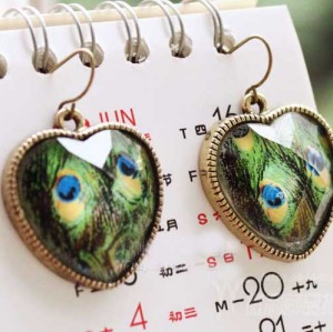 Pair Peacock Gem Crystal Bronze Heart Earring E-1025