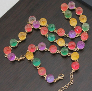 New Multi Color Crystal Gumball Sweet Candy Globe  Chunky Unusual Necklace S-0007