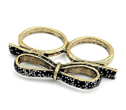 Vintage Style Glazed Bowknot Two finger Ring R-0160