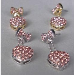 Fashion Pink Crystal Bowknot Heart Ear Stud