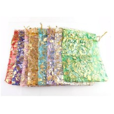 Lots Wedding Rose Gift Pouch Organza Bags
