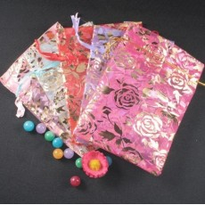 14*20cm Lots Rose Organza Bags Favor Pouch Choose Color G-0005