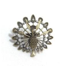 Vintage Style Clear Rhinestone Proudasa Peacock Ring R-0204